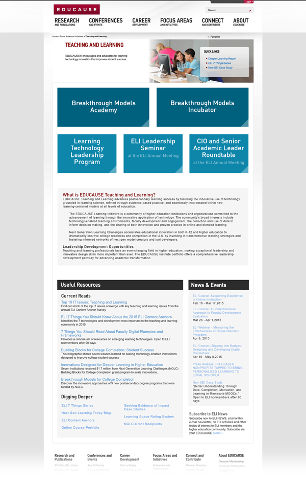After - Landing Page for the EDUCAUSE Teaching and Learning Inititative