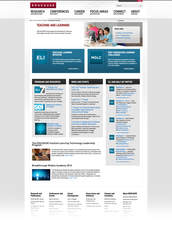 Before - Landing Page for the EDUCAUSE Teaching and Learning Inititative