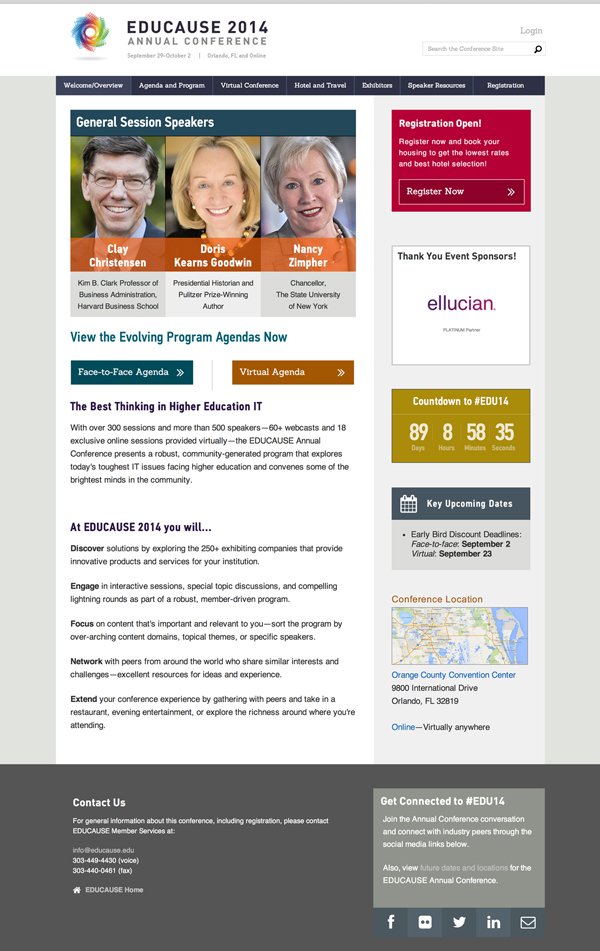 Home Page for the EDUCAUSE 2014 Annual Conference